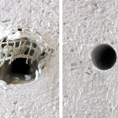 The removal of the scaffold screws always lead to permanent damage of the façade